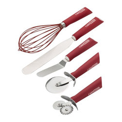 Cake Boss - Cake Boss Stainless Steel Tools and Gadgets 5 Piece Baking and Decorating Tool S - Shop for Cake Decorating Kit from Hayneedle.com! The Cake Boss Stainless Steel Tools and Gadgets 5 Piece Baking and Decorating Tool Set - Red is an essential set for your baking kitchen. This set includes five must-have baking and decorating items: a fondant/pizza cutter double pastry wheel 4.5-inch offset icing spatula 8-inch icing spatula and a 10-inch balloon whisk with silicone overmold. Designed for righties lefties and even younger bakers these tools have bright red silicon handles for an easy grip. They're made of stainless steel and should be hand washed.About Cake Boss Baking Buddy Valastro is a fourth generation baker runs his family s business Carlo s Bakery and is the Cake Boss on TLC. Inspired by Buddy s reality baking series Cake Boss now offers a comprehensive line of bakeware cake decorating tools and kitchen accessories. Designed to make baking fun these high-quality baking and decorating products let you bake like the boss.