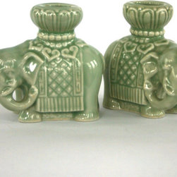 Elephant Candle Holders by Rhapsody Attic - A pair of vintage elephant candlesticks would be perfect for the table, mantle or sideboard.