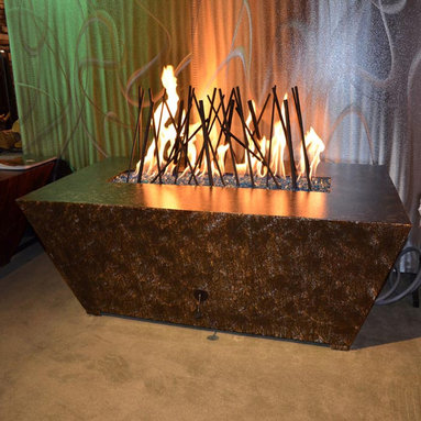 """R & R Living Parallax Square Fire Pit Table - The bold, contemporary shape of the Parallax Square Fire Pit Table is the perfect complement to modern outdoor living. R & R Living's Parallax is made from 98% recycled steel and finished to perfection using indestructible Armor finish coatings. The coatings are artfully applied by hand so that each unit is utterly unique. You may choose from twelve color options including Copper Vein, Oil Rubbed Bronze and Silver Vein - that are engineered to hold up in harsh salt air environments. The Parallax is weather resistant, UV protected and fade resistant and will not rust or corrode. It is also designed for maximum under-carriage air flow and drainage with ¾"""" clearance."""