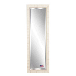 Rayne Mirrors - American Made Tuscan Ivory 25 x 63 Full Body Beveled Mirror - This Tuscan inspired floor mirror features a weathered ivory wood block overlay design and inner scroll detailing.  Aged & distressed like you've owned it for years.   Each Rayne mirror is hand crafted and made to order with American products.  All hardware included for vertical or horizontal hanging, or perfect to lean against a wall.