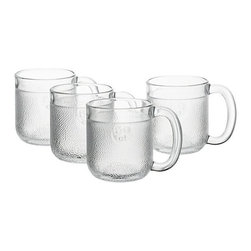Set of 4 Iittala Krouvi Beer Mugs - The comeback of a Scandinavian quaffing classic. Iittala's textured Finnish pub mug designed by Oiva Toikka in 1973 features a friendly broad shape, smooth polished rim and embossed measurements. Freezer-safe for the frostiest brew.