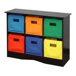 RiverRidge Kids 6 Bins Storage Unit, Espresso - This colorful storage will encourage little ones to clean up.