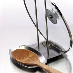 Progressive International Stainless Steel Lid And Spoon Rest - A combined lid and spoon rest keeps your stovetop clean and organized while you cook.