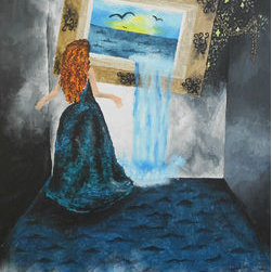 Pitcher Of Water (Original) By Kayla Domaszek - A curious woman is shocked as she looks at a picture of a beach pouring out into reality as her feet become covered in water from the picture.  Acrylic on canvas.  Perfect for a living space!