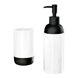 Modern Bath Accessories Set of 2, Liquid Soap Dispenser and Tumbler, White - Unique modern bathroom accessories set with liquid soap dispenser and bathroom tumbler in bright fun colors.  High gloss finish brings high end look into your bathroom.  Plus this contemporary accessory set offers a non slip matte black pump on the dispenser and non slip base on the tumbler. Made in Germany. Tumbler (W) 2.75in x (H) 4.7in ; Dispenser (W) 2.6in x (H) 8.6in - 15oz