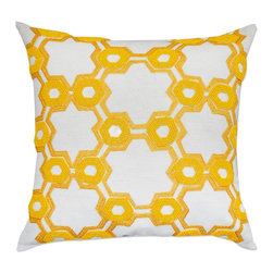 A1 Home Collections - Opulent Hexagon Decorative Pillow, Yellow - Handcrafted to perfection this modern decorative pillow will add a touch of flair to your home. This square decorative pillow is comprised of 100% cotton and filled with both down and feathers for your comfort.