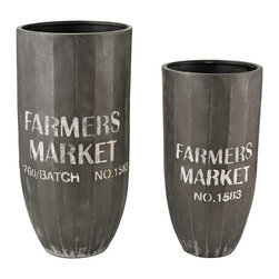 Farmer's Market Metal Bins - Set of 2 - *Dimensions: 11L x 11W x 23H