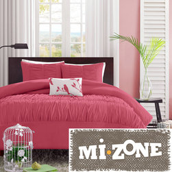 Mi-Zone - Mizone Alyssa 4-piece Comforter Set - The Alyssa Comforter Set creates an opulent look and generously updates the decor for the bedroom. The brushed fabric on the brilliant pink comforter and shams gives the appearance of scalloped edges and ruffles covering the bed.