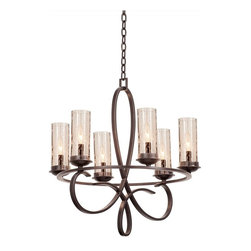 Kalco Lighting - Kalco Grayson 6-Light Round Chandelier - Shown in Heirloom Bronze finish with Seeded Glass. The Grayson Collection was inspired by the popular French fleur-de-lis. This collection combines a stylized fleur-de-lis with the Kalco's exclusive lighting shade options. The Hand-cut Calcite and the Hand-crafted Natural Iridescent Shell and Penshell exclusive to Kalco Lighting are all available in this collection. The delicate curves combine with natural shades to create a traditional style that is still elegant and modern.   Overall size is 25 in. W x 25 in. D x 26 in. H.