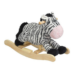 "Charm Company - Zany Zebra Rocker - The Zany Zebra Plush Rocker by the Charm Co. will melt your heart with his super soft plush body that has the feel of a baby blanket and his fuzzy mane and tail. He features cute button eyes and a soft smile. His low to the ground design is great for toddlers so they can easily climb on and off. Squeeze his ear to hear him WHINY this feature requires 2AA batteries not included. Holds up to 100 lbs. Recommended for children ages 3 and up. Strong hardwood rocker base. Natural non-toxic finish. Natural stain wooden handles. Extra soft plush body Fun sounds. Easy clean up with mild soap and water. Dimensions: Overall Height: 16"" Seat Height to Floor: 11"" Rocker Length: 25.5"" Rocker Width: 10.5""."