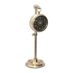 Black Old World Brass Pocket Watch Replica On Stand - *Brass pocket watch replica that hangs on an adjustable telescopic stand.