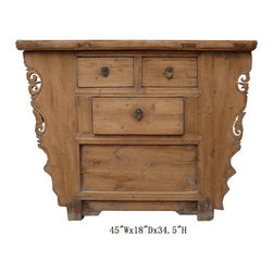 Chinese Antique Natural Wood Three Drawers Altar Table Cabinet - This is a Chinese antique natural wood altar table which is made of solid elm wood.