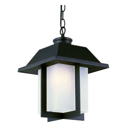 "Trans Globe Lighting - Pagoda Cap 12"" Outdoor Pendant - Black - East meets West with this garden landscape and entry collection. Add all matching accent lighting for the whole home. Pair with ledge stone sided porch areas and homes for stunning ambience.; Weather resistant cast aluminum; Includes 5' chain for hanging adjustments; Attaches to matching ceiling canopy from chain - hangs straight on angled ceilings; Asian inspired complete landscape lantern collection; Materials: Cast Aluminum; Bulb Type: Medium - E-26 - E-27 - Type A; Bulb Wattage: 100; No. of lights: 1; Bulbs Included:No; Glass: White Frosted Glass, Rectangle; Dimensions:8""W x 12.5""H"