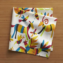Otomi Napkin - The signature style of Mexico's Otomi artisans gives us a vibrant, multi-colored menagerie, dancing across a white cotton napkin.