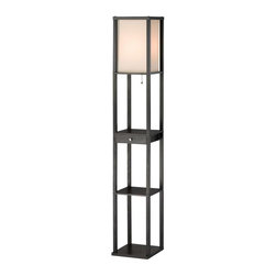 Adesso - Adesso Parker Shelf Lamp With Drawer - Shelf floor lamp with a handy drawer that lets you store items and features our popular open shelf design. Black wood frame and collapsible natural silk fabric shade. Features three open shelves for display/storage and a drawer.62.5 in Height. 10 1/4 in Width. Takes 1 x 150 Watt. Has On/off pull-chain switch.