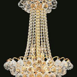 Elegant Lighting - Elegant Lighting 2001D16G/EC Godiva 9 Light Chandeliers in Gold - 2001 Godiva Collection Hanging Fixture D16in H23in Lt:9 Gold Finish (Elegant Cut Crystals)