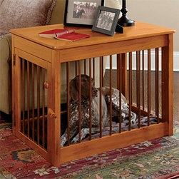Wood Dog Crate / Wood/Metal Deluxe Dog Crate - Let's face it: Most pet crates are REALLY ugly. This one is made of  handsome pine and doubles as a side table. It's a major improvement upon those wire and plastic things - who wants to look at that in the living room?