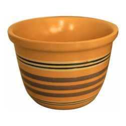Yellow Ware Ramekins - Set of 12 hand decorated ramekins or pudding pots. Three sets of 4, (12 total) each set has a different blue striped detail on the little pot.