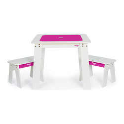 P'kolino - P'kolino Chalk Table And Benches, Fuchsia - Let kids get messy with this junior-sized art station designed for easy creativity and easy cleanup. A storage container under the tabletop keeps art supplies organized and within reach. The reversible tabletop flips over to reveal a chalkboard, and is easily reversed again for a smooth, clean tabletop. If only your own desk could do that trick!