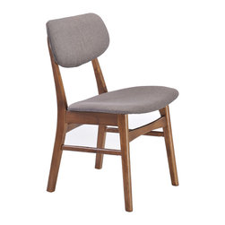 Zuo Modern Contemporary, Inc. - Midtown Dining Chair Flint Gray (set of 2) - Slender shapes and clean lines in rubberwood define the Midtown Chair's comfort and look.  With textured polyblend fabric, this chair gives a warm look to any contmporary space.  It is a great piece of design
