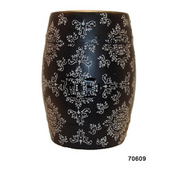 Damask Ceramic Garden Stool Black White - *Damask Ceramic Garden Stool Black White