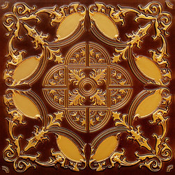 "Decorative Ceiling Tiles - Golden Prague - Faux Tin Ceiling Tile - Glue up - 24""x24"" - #218 - Find copper, tin, aluminum and more styles of real metal ceiling tiles at affordable prices . We carry a huge selection and are always adding new style to our inventory."