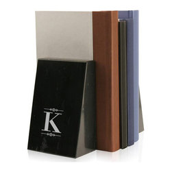 """Monogram Marble Bookends, G, Script - A perfect gift to give just about anyone is a set of monogram bookends.  These black marble bookends let the person who you are giving them to know just how much you care.  They speak to his or her intelligence and their eye for contemporary design.  These black marble bookends will hold up a multitude of books and look great sitting up on any shelf.  They are a great gift for just about anyone, but would certainly add a distinguished element to any professional businessperson's office. These unique bookends can be personalized by having the recipient's monogram, laser engraved into the beautiful black marble.  This simple addition is a thoughtful way to personalize a truly unique present.These personalized bookends are a wonderful and meaningful gift to give to just about anyone you can think of for any occasion, whether you are giving these bookends to celebrate, congratulate, or just because you care. The dimensions of these beautifully engraved bookends make them the right size to hold up any sized book and are able to be displayed anywhere.  The pair weighs approximately 9 pounds collectively; they each measure 6"""" high, 4"""" wide, and 2 1/2"""" deep."""