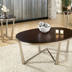 Steve Silver Co. - Cosmo 3-Pc Occasional Table Set in Cherry Fin - Includes cocktail table and two end tables. Modern Style. Sturdy gauge metal. Made from solid wood top and metal base. Made in Taiwan. Cocktail table: 46 in. W x 30 in. D x 19 in. H. End table: 22 in. Dia. x 24 in. HThis beautiful 3 Pack occasional set blends traditional wood tones with modern structure. The round table tops finished in dark cherry veneers are warm against the cool of the pewter metal base. Be the first to make the Cosmo occasional set part of your home.