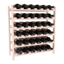 36 Bottle Stackable Wine Rack in Pine with White Wash Stain + Satin Finish - A pair of discounted wine racks allow double wine storage at a low price. This rack accommodates all 750ml bottles, Pinots and Champagnes. The quintessential DIY wine rack kit. Your satisfaction is guaranteed.