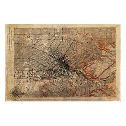 """Maxwell Dickson - Maxwell Dickson """"Map Los Angeles 1926"""" Antique Old Art Canvas Print Artwork - We use museum grade archival canvas and ink that is resistant to fading and scratches. All artwork is designed and manufactured at our studio in Downtown, Los Angeles and comes stretched on 1.5 inch stretcher bars. Archival quality canvas print will last over 150 years without fading. Canvas reproduction comes in different sizes. Gallery-wrapped style: the entire print is wrapped around 1.5 inch thick wooden frame. We use the highest quality pine wood available."""