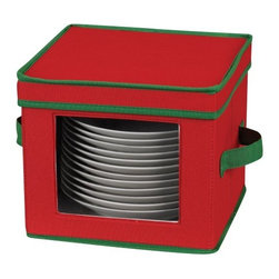 Household Essentials - Holiday Salad Plate/Bowl Storage Chest - Even at the holiday meal, never forget your greens! And surely you wouldn't with this Holiday Salad Plate Chest in festive red and green. With felt protectors to nestle within your stack and a fit designed to cradle your salad plates, this chest ensures your holiday meal--or at least the service--will be flawless. Riveted handles allow you to securely transport your place setting from storage to table or house to car. Enjoy the peace of mind that the Window Vision front piece offers as you enjoy seeing your treasured holiday china safely tucked away, in the closet, in the cabinet, or on the go.