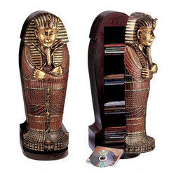 """EttansPalace - 27"""" Classic Egyptian Statue King Tut Tutankhamen Sculpture Statue Cd Cabinet - Scaled replica is highly functional art for the modern home or office. What looks like the scaled ancient Egyptian sarcophagus of the beloved King Tut is actually a CD cabinet that holds up to 56 discs on four shelves. Handcrafted of solid wood with resin details, it is hand painted in regal faux gold and a palette of jewel tones to add exotic Egyptian flair to your home or office decor. 9""""W x 11""""D x 27""""H. 23 lbs."""