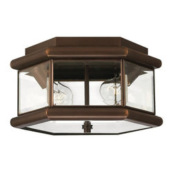 Hinkley Lighting - Hinkley Lighting Clifton Park Traditional Outdoor Flush Mount Ceiling Light - The clean geometric pattern is complimented by beveled edges and subtle traditional details on this Hinkley Lighting outdoor flush mount ceiling light. From the Clifton Park Collection, this traditional outdoor lighting fixture effortlessly pairs beveled clear glass window panes with a charming Copper Bronze finish.