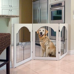 Majestic Pet Universal Free Standing Pet Gate - Keep your favorite pet protected and safely away from your home's valuables and furniture with the Majestic Pet Universal Free Standing Pet Gate. Weatherproof and rust-resistant this handy pet gate is sturdily constructed in heavy-duty wire for extra-durability. Available in multiple sizes: 53-69L x 36H inches.