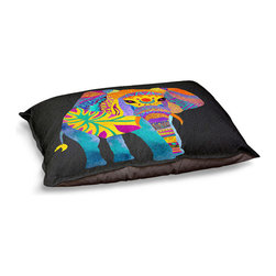"""DiaNoche Designs - Dog Pet Bed Fleece - Whimsical Elephant II - DiaNoche Designs works with artists from around the world to bring unique, designer products to decorate all aspects of your home.  Our artistic Pet Beds will be the talk of every guest to visit your home!  BARK! BARK! BARK!  MEOW...  Meow...  Reallly means, """"Hey everybody!  Look at my cool bed!""""  Our Pet Beds are topped with a snuggly fuzzy coral fleece and a durable underside material.  Machine Wash upon arrival for maximum softness.  MADE IN THE USA."""