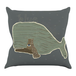 "Kess InHouse - Bri Buckley ""Blue Whale"" Blue Green Throw Pillow (16"" x 16"") - Rest among the art you love. Transform your hang out room into a hip gallery, that's also comfortable. With this pillow you can create an environment that reflects your unique style. It's amazing what a throw pillow can do to complete a room. (Kess InHouse is not responsible for pillow fighting that may occur as the result of creative stimulation)."