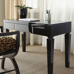 Horchow - Black Glass Writing Table - Simple lines and a pared-down size make this desk just what you need if you're looking for a place to write letters or pay bills in the kitchen or bedroom. We think it also works well as a vanity or as a thoughtful addition to the guest room. Made of w...