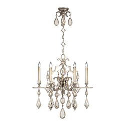 Fine Art Lamps - Fine Art Lamps 729440-3ST Encased Gems Silver Clear Crystal 6 Light Chandelier - 6 Bulbs, Bulb Type: 60 Watt Candelabra; Weight: 28lbs