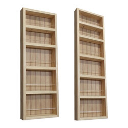 None - Pine Wood 2-piece 48-inch/ 30.75-inch On-the-wall Spice Rack II - The 48-inch/30.75-inch On-the-wall Spice Rack II can be mounted on a wall,or the side of a cabinet,and includes a beadboard back panel and clear acrylic dowels in front of each shelf. This 2-piece rack offers a natural finish that can be stained.