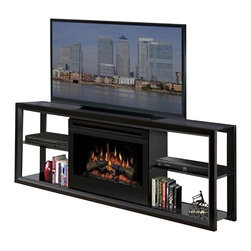 "Dimplex - Dimplex Novara TV Stand with Electric Fireplace in Multiple Finishes-Black - Dimplex - TV Stands - SAP300B - The Novara TV Stand with Electric Fireplace is a contemporary styled media console in a black finish with smoked glass accents and support for up to a 60"" flat screen TV."