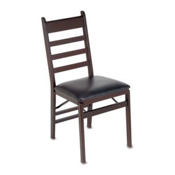 """Cosco - Cosco Wood Folding Chair with Padded Seat - You can never have too many chairs, especially when you are entertaining. This folding chair has a dark cherry finish and a 1 1/2"""" black vinyl seat."""