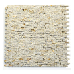"Glass Tile Oasis - Still Life Unique Shapes Cream/Beige Modern Series Tumbled Natural Stone - Sheet size:  12"" x 12""        Tile Size:  1/2""        Tile thickness:  3/8""        Sheet Mount:  Mesh Backed        Stone tiles have natural variations therefore color may vary between sheets.    Sold by the sheet    -  During manufacturing  the tiles are hand sorted into matching colors and sizes and individually glued onto mesh backing. It is not unusual to find occasional imperfections  veins and lines of separation within the stones."