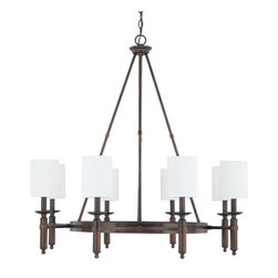 Capital Lighting - Capital Lighting 4048-489 Covington 8 Light 1 Tier Chandelier - Capital Lighting 4048-489 Covington 8 Light 1 Tier ChandelierMixing the best of the old and the new, this stylish transitional eight light single tier chandelier features a modernized version of a traditional mission style central ring design. The slick metallic finish, simplified lines, and streamlined decorative fabric shades create the perfect accompaniment to any room in any decor.Capital Lighting 4048-489 Features: