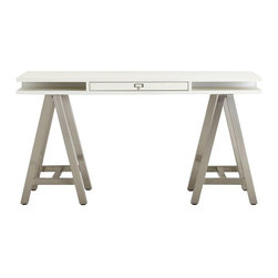Customize-It Storage A-Frame Desk - I love this desk with the industrial chrome legs.