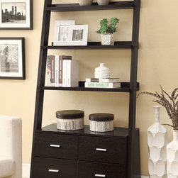 Coaster - 800319 Bookshelf - This leaning ladder style bookshelf is perfect for displaying and storing personal items. This sturdy and space efficient piece features 2 drawers with silver handles. Finished in cappuccino.