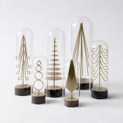 Modern Brass Forest Tree Set - These are holiday style with a modern twist.