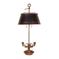 Bouillotte Lamp & Tole Shade - Bouillotte table lamp with three swan candle holders and an adjustable dark green metal shade with gold trim. Wired and in working condition; uses two 60W bulbs.