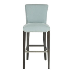 Safavieh - Theodore Barstool - The clean lines of the Theodore counter stool complement any home from traditional to contemporary. With a birch wood frame in an espresso finish, Theodore is upholstered in sky blue fabric with silver nail heads detailing its seat and gently curved back.
