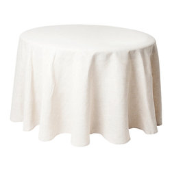 """Saro - Ivory Woven Tablecloth - 108"""" Round - Ivory Woven Tablecloth - 108"""" Round"""