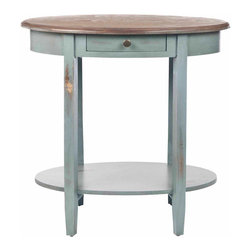 Safavieh - Monica Oval End Table - Antique White - Choose the Monica end table for a shabby-chic style accent in living room, bedroom or family room. Featuring a base with distressed pale blue finish Monica has an oak-toned oval birch wood top ready for your favorite lamp and a bottom shelf for books or magazines. This hardworking table also offers a drawer for extra storage.